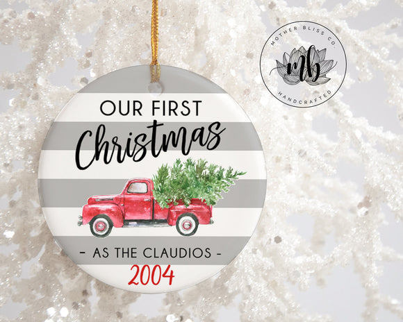 1st Christmas Ornament | Red Truck Ornament | Personalized Christmas Ornament Family Name |  Unique gift | Wedding Ornament