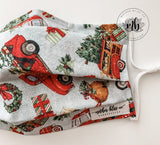 Christmas Travel Truck 100% Cotton Mask | Rustic Christmas Mask | Handmade Fabric Mask with Pocket for Filter - Adjustable Elastic Face Cove