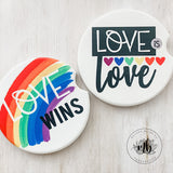 Love is Love Car Coasters Pair | Set of 2 Car Coasters | LGBTQ Pride Car Coasters