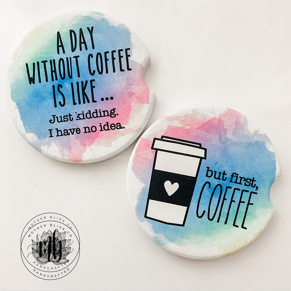 But First Coffee Car Coasters Pair | Set of 2 Car Coasters | Coffee Lover Funny Car Coasters