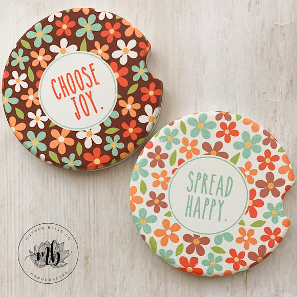 Choose Joy Spread Happy Car Coasters Pair | Set of 2 Car Coasters | Joy | Gift | Inspirational Love | Car Coasters