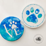 Dog Love Car Coasters Pair | Set of 2 Car Coasters | Dog Lover Coaster Set | Dog Paw Car Coasters