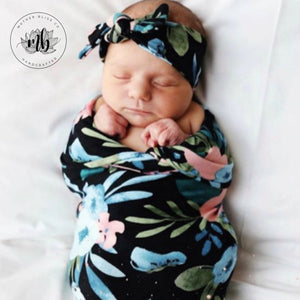 Black Flower Garden Baby Swaddle Set | Newborn Photo Prop | Newborn Swaddle Set with Headband or Hat | Ready to Ship | Baby Shower Gift