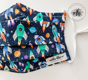 Rocket Ship 100% Cotton Mask with Nose Wire and Filter | Handmade Fabric Mask with Pocket for Filter - Adjustable Elastic - Face Cover