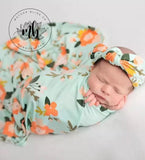Green and Orange Floral Baby Swaddle Set | Newborn Photo Prop | Newborn Swaddle Set with Headband or Hat | Ready to Shi