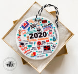 2020 Funny Christmas Ornament | We Survived 2020 White Elephant Gift Exchange Ornament | Unique gift | Quarantine | Covid Ornament