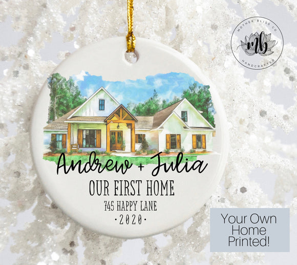 New Home Ornament | Totally Custom Home Ceramic Ornament | Personalized Christmas Ornament |  Digitally Painted Picture Ornament | Wedding