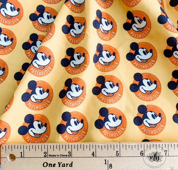 IN STOCK! Park Hopping Passholder Mickey Disney Castle Fabric - Great for Mask Making - Custom Fabric - Cotton Woven Fabric