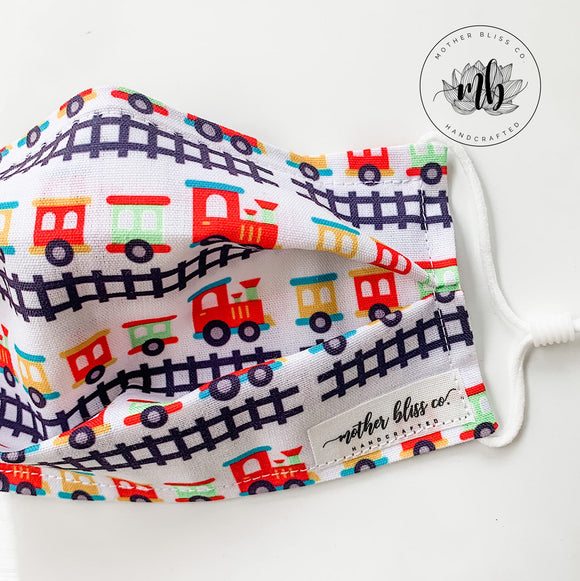 Trains Mask with Nose Wire and Filter Pocket | Handmade Fabric Mask with Pocket for Filter - Adjustable Elastic - Face Cover