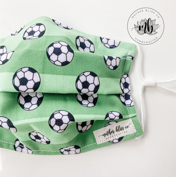 Soccer Fields Mask with Nose Wire and Filter | Handmade Fabric Mask with Pocket for Filter - Adjustable Elastic - Face Cover - Soccer Balls