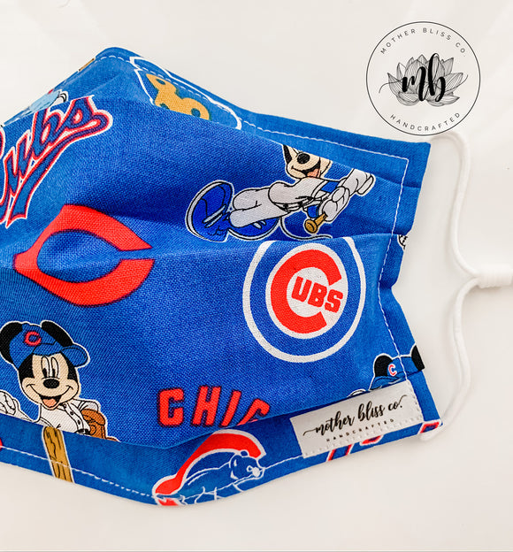 Chicago Cubs Mickey Disney 100% Cotton Mask | Kids Mask | Handmade Fabric Mask with Pocket for Filter - Adjustable Elastic