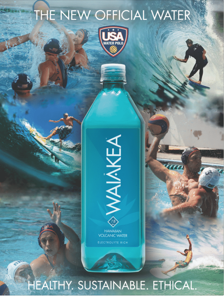 """""""The New Official Water of the USA Water Polo team. Healthy. Sustainable. Ethical."""""""