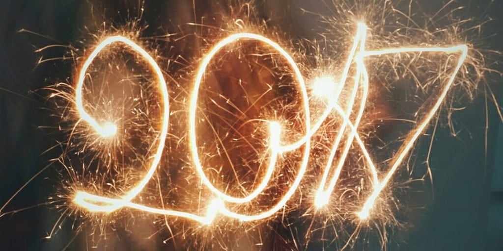 """""""2017"""" written with fireworks using slow shutter speed photography"""
