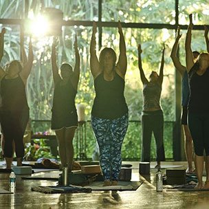 Women practicing yoga in the morning