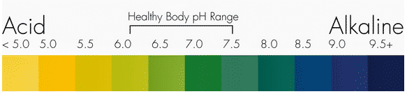 pH scale, highlighting the healthy human range of 6 to 7.5