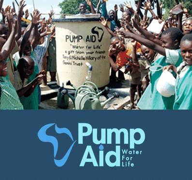 Pump Aid promotional poster with one of its pumps in the background