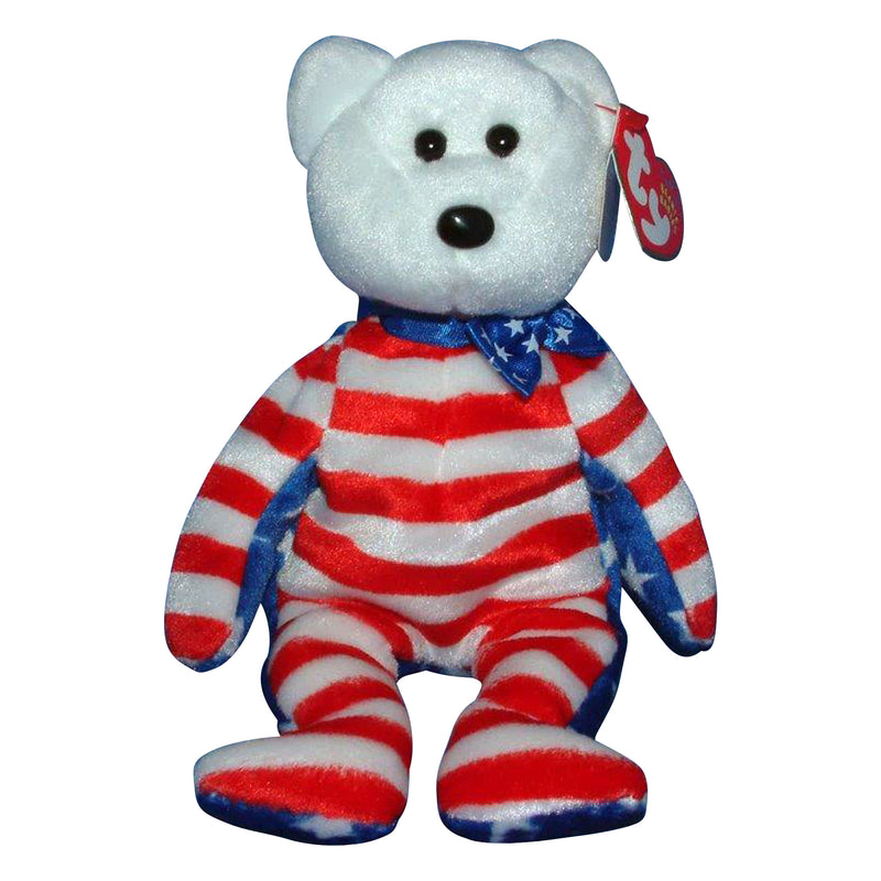 Ty Beanie Baby: Liberty the Bear - White