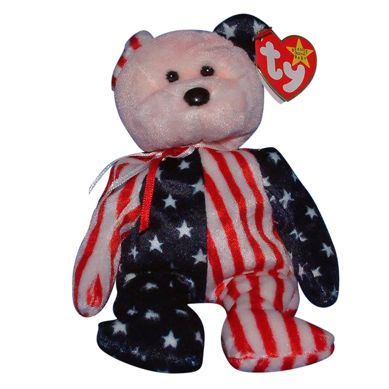 Ty Beanie Baby: Spangle the Bear - Pink Face