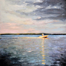 "Load image into Gallery viewer, ""Large boat oil painting, Cape Cod boats, maritime artwork."""