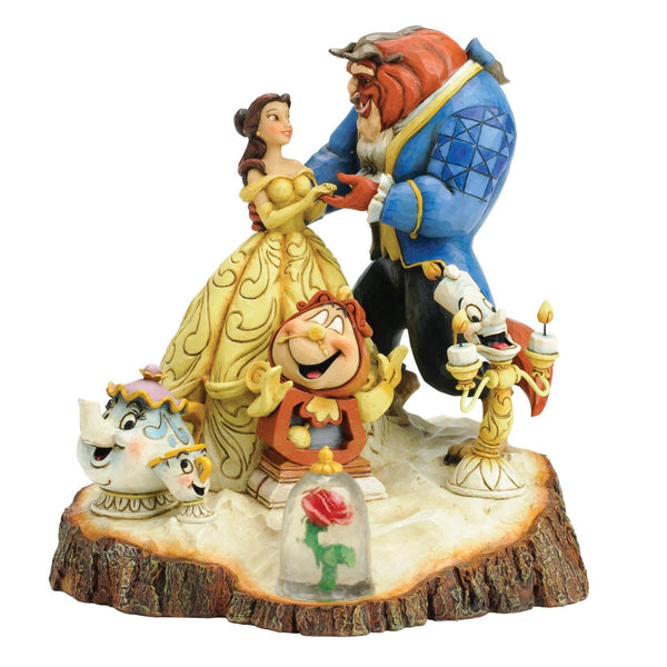 Disney Traditions by Jim Shore Beauty and the Beast Carved by Heart Stone Resin Figurine