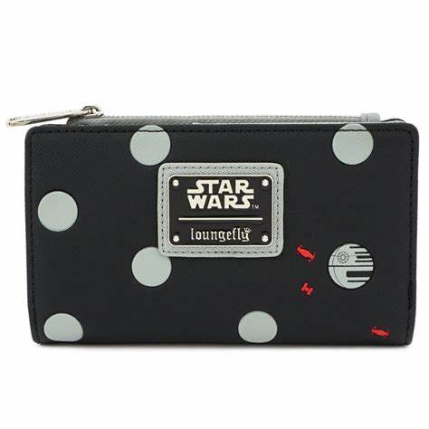 LOUNGEFLY X STAR WARS POLKA DEATH STAR DOT ZIP BI-FOLD WALLET