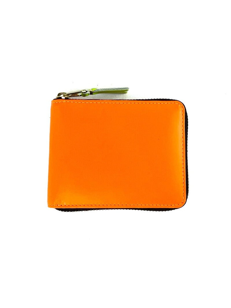 CDG Super Fluo Zip Around Wallet Light Orange Yellow Pink