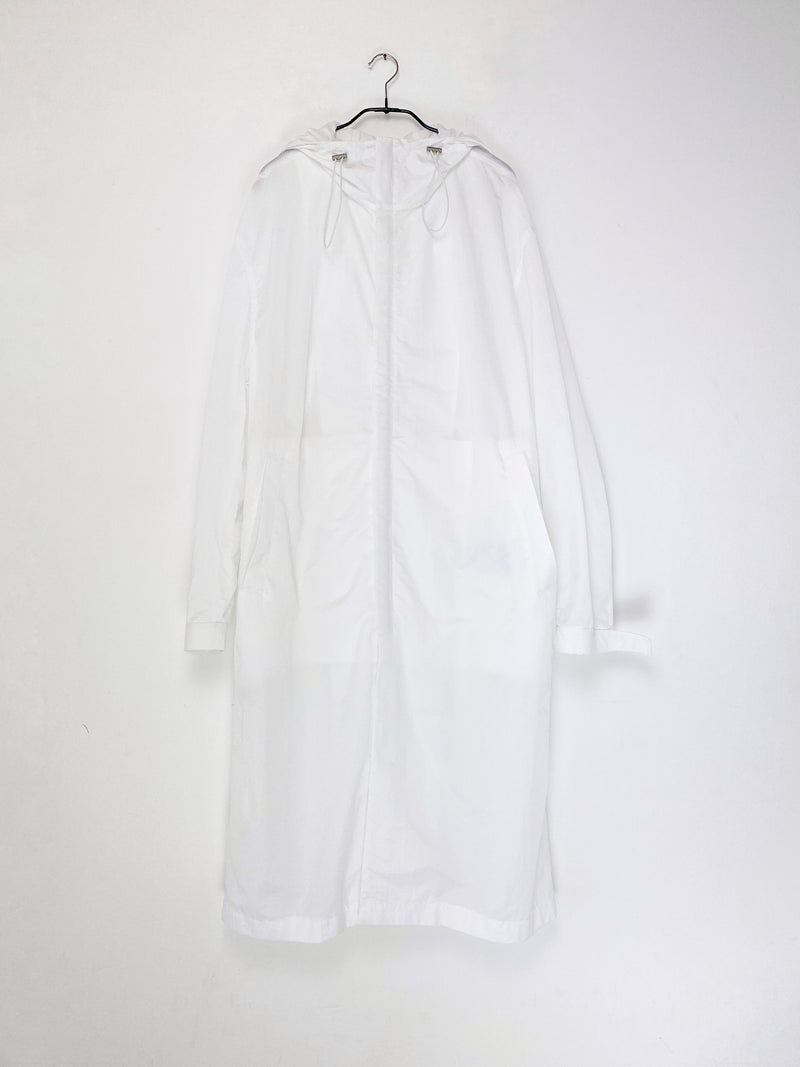System Hoodied Long Outer Coat White