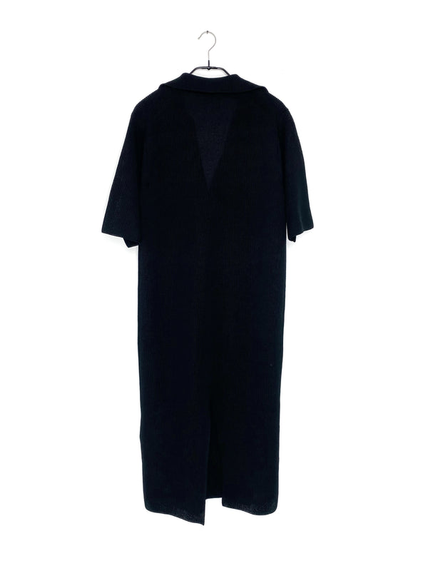 Flat Yarn Rib Knit Skipper Dress Black