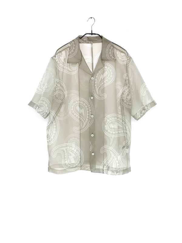System Short Sleeve Pattern Shirt Khaki Beige