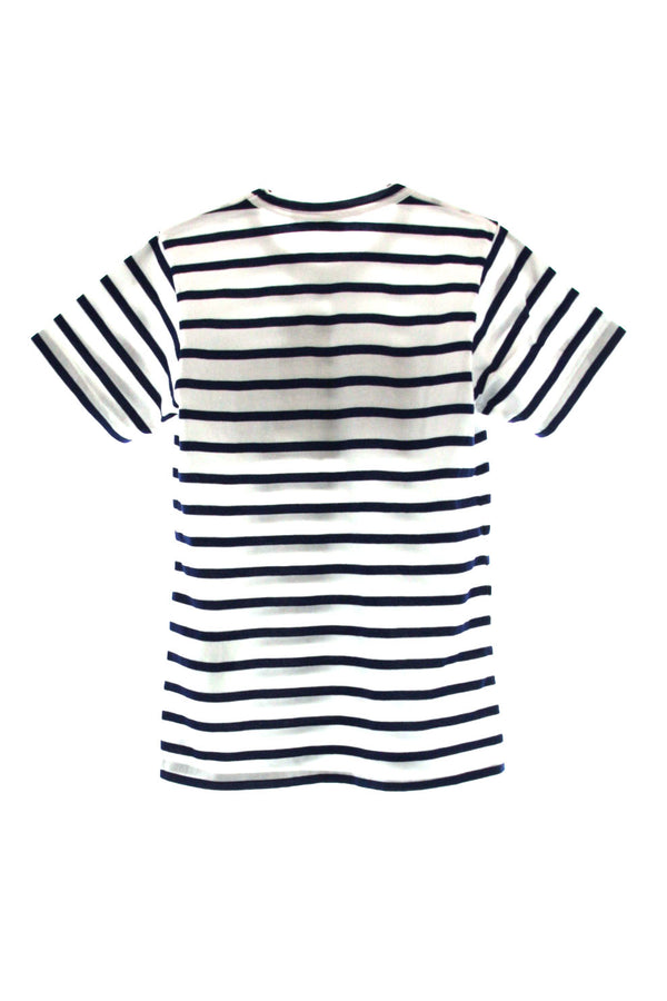 CDG Floral Ruffled Striped T-Shirt Blue