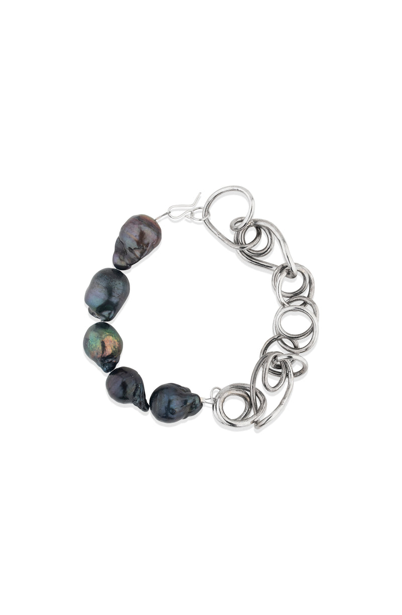 Completedworks Platinum Plated Black Baroque Pearls Bracelet