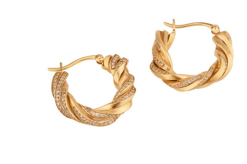 Completedworks Twisted Hoops Gold Plated Silver And Topaz