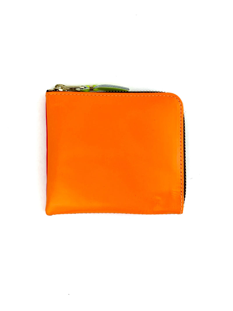 CDG Super Fluo Side Zip Wallet Light Orange Pink