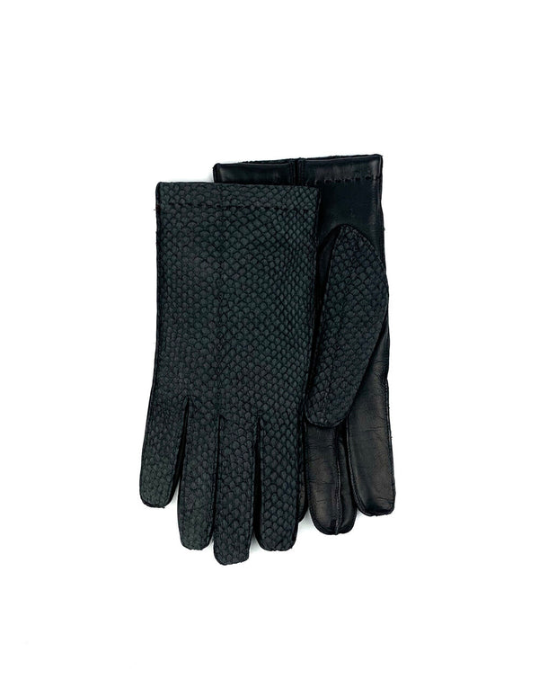 Men's Handmade Off-Black Leather Cashmere Glove