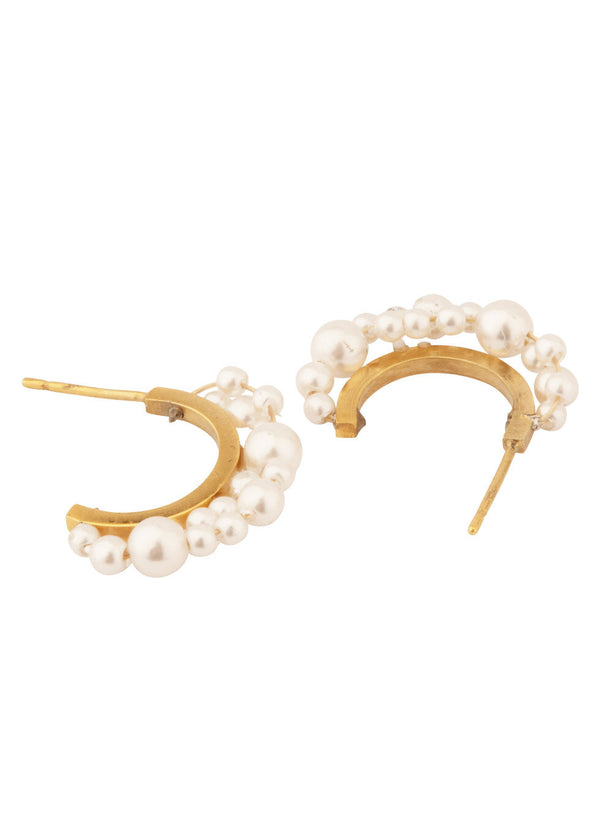 Earrings Small Pearl Hoops