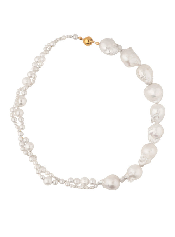 Woven Long Pearl Necklace