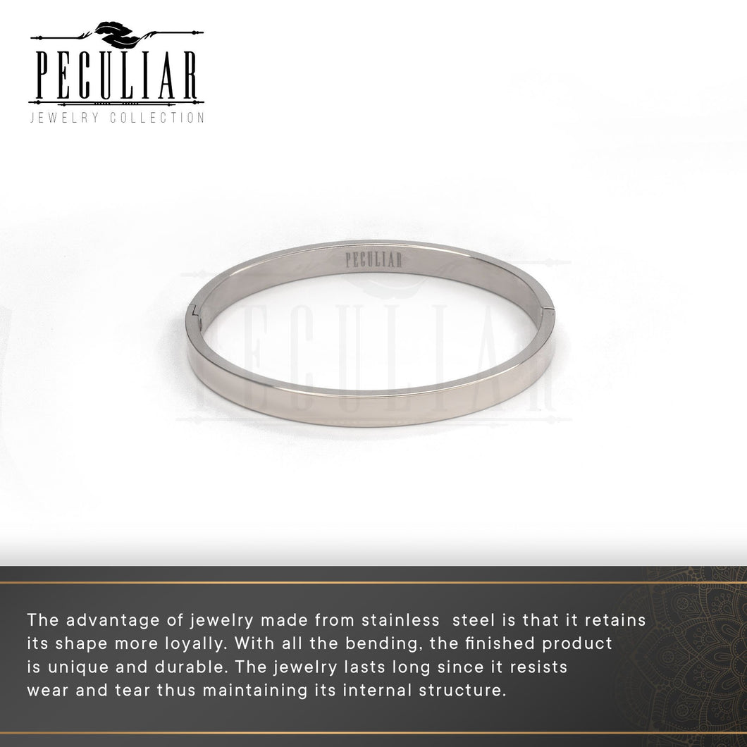 Peculiar Jewelry Muted Hinged Bangle Bracelet