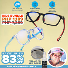 Load image into Gallery viewer, Peculiar Kids Bundle Jean and Brad Blueshield™ Eyewear with FREE Cosmetic Grade Anti Fog