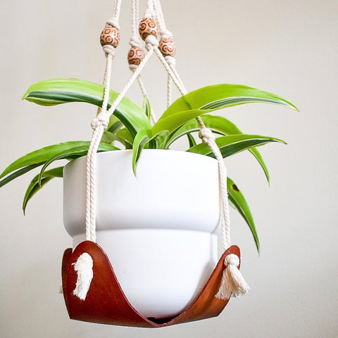 Leather & Macrame Plant Hanger