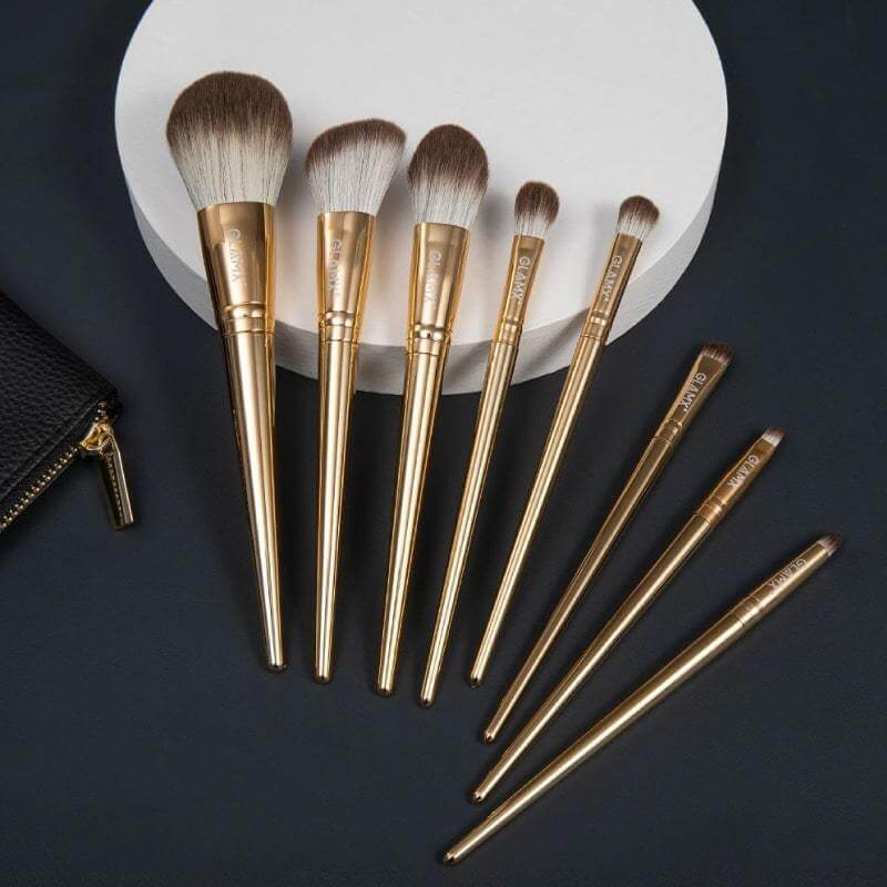 8 Piece Gold Makeup Brush Set | GX11