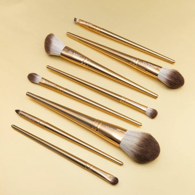 8 Piece Gold Makeup Brush Set - GX11