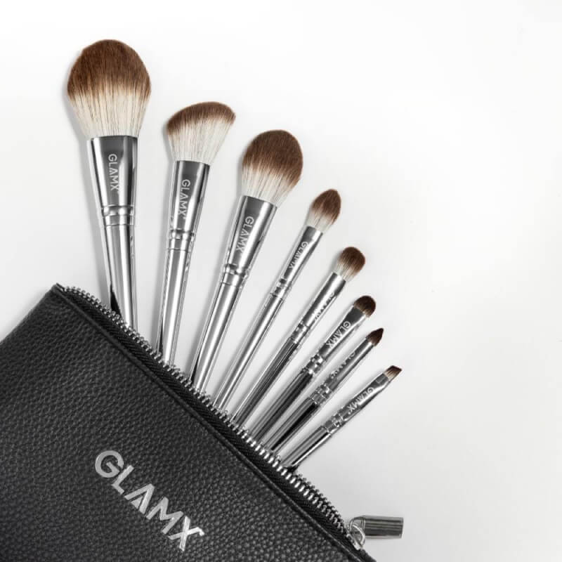 8 Piece Silver Makeup Brush Set - GX10
