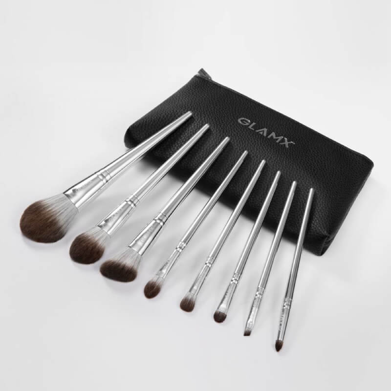 8 Piece Silver Makeup Brush Set | GX10