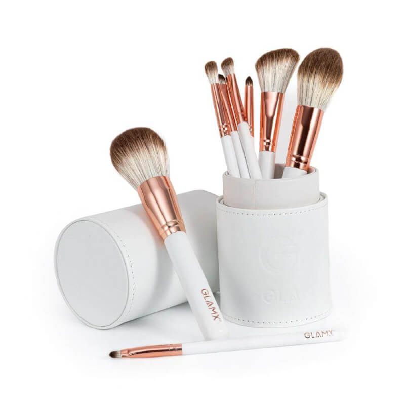 8 Piece Rose Gold and White Makeup Brush Set | GX20