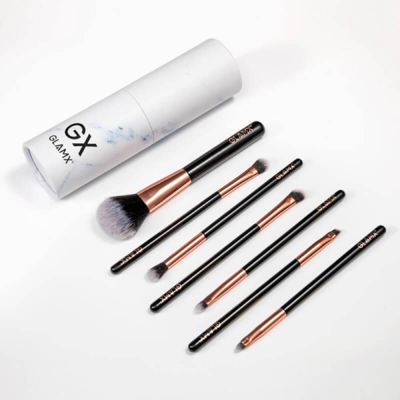 7 Piece Rose Gold and Black Makeup Brush Set | GX30