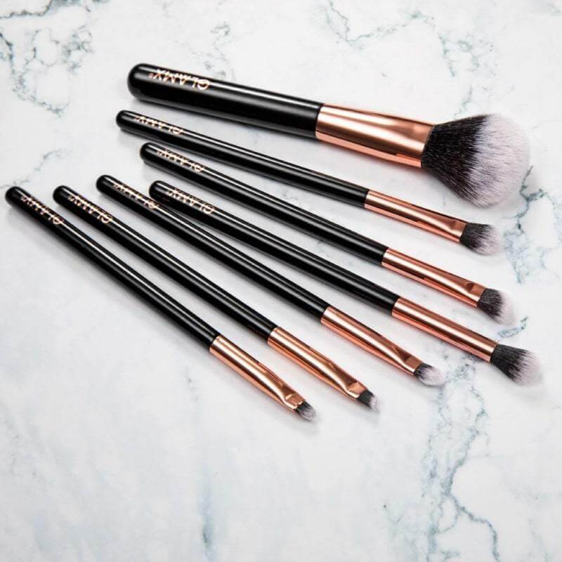 7 Piece Rose Gold & Black Makeup Brush Set - GX30