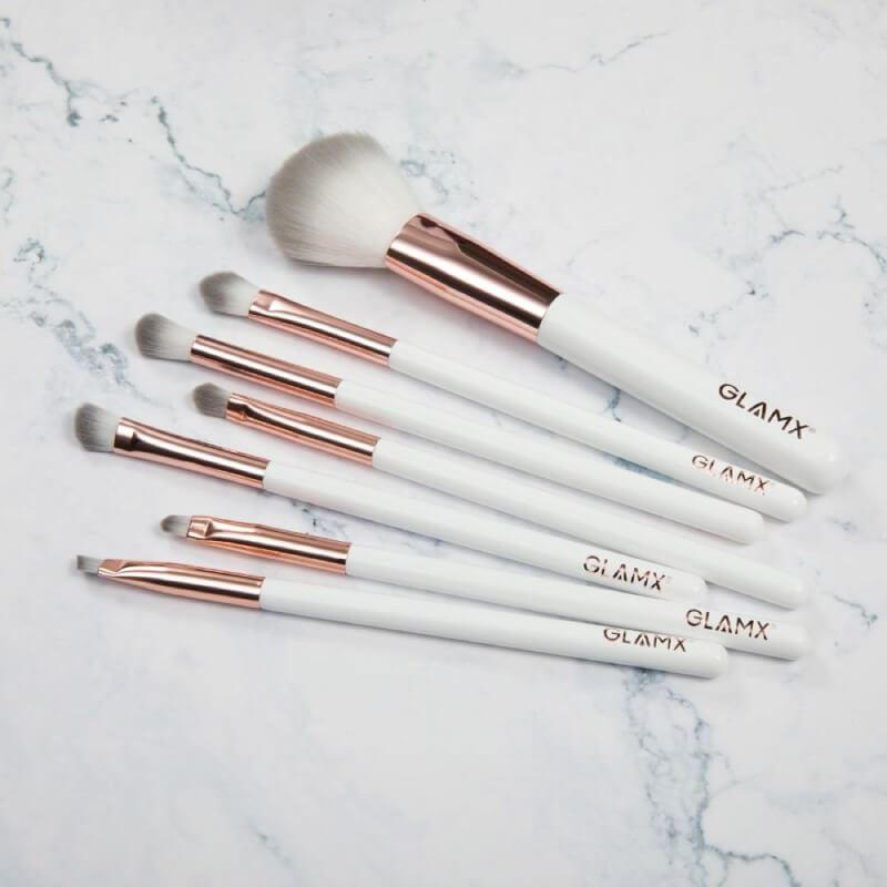 7 Piece Rose Gold and White Makeup Brush Set | GX31