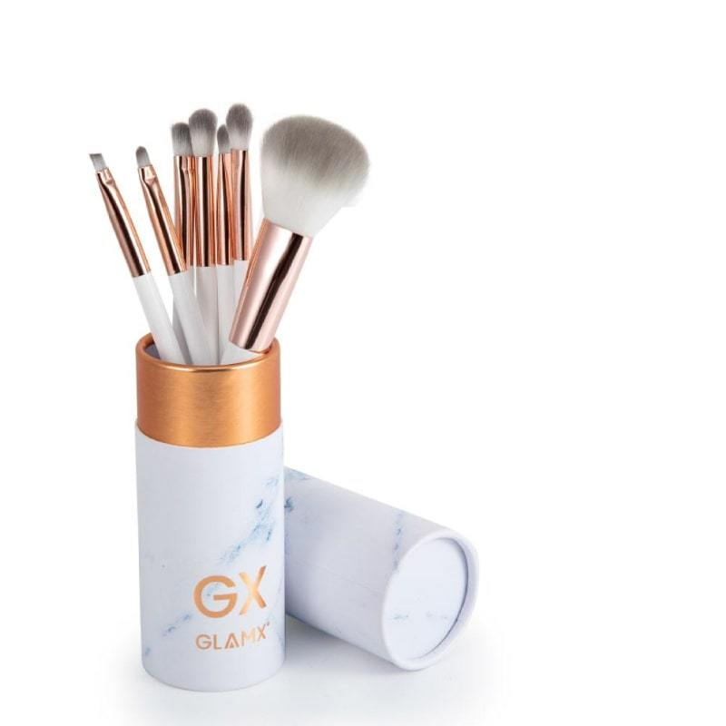 7 Piece Rose Gold & White Makeup Brush Set - GX31