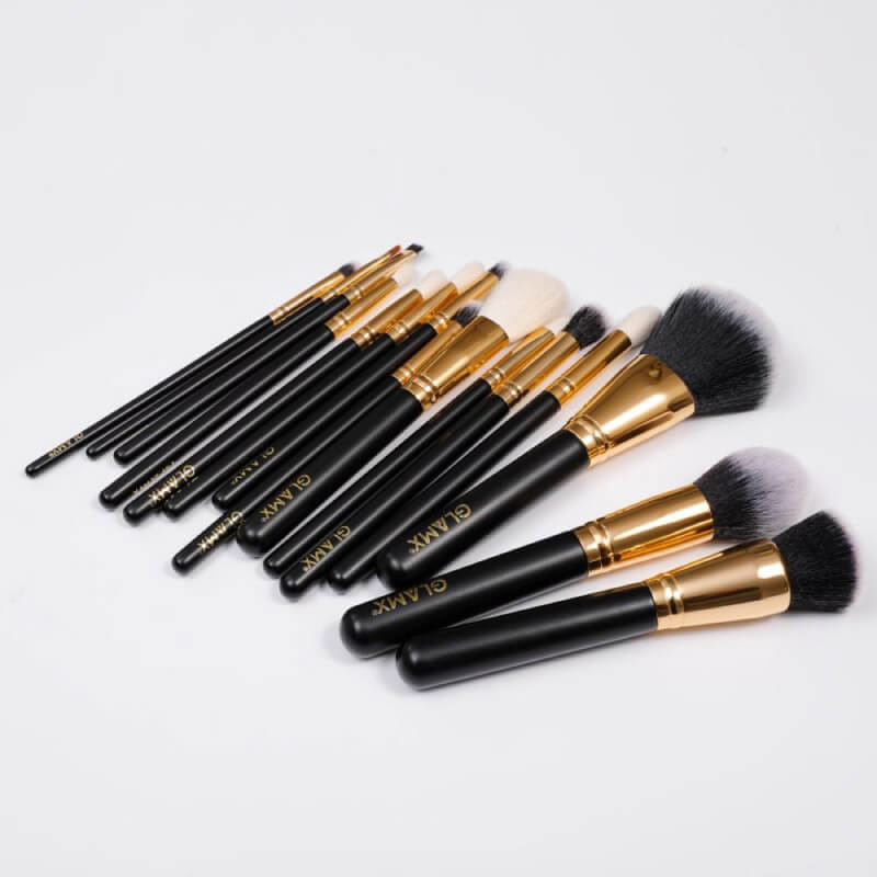 15 Piece Black and Gold Makeup Brush Set | GX40