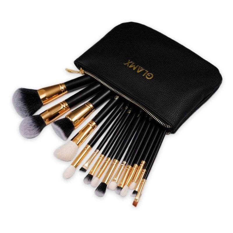 15 Piece Black & Gold Makeup Brush Set - GX40